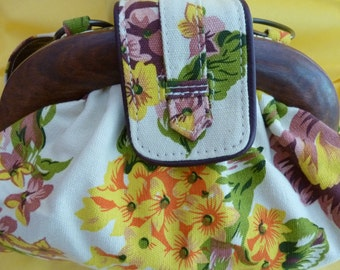 "Cotton ""Flower Power"" Handbag!  Bursting with Color.  Fun and Fanciful in Every Way!  100% Cotton."