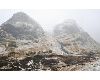 Winter Glen Coe, original fine art photography, print, landscape, highland, nature, 8x12,  mountain, snow, scotland, vintage, retro