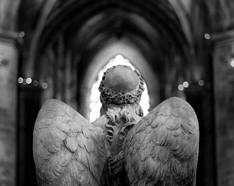 St. Giles' Angel, original fine art photography, print, church, stone, scotland, edinburgh, cathedral, wings, black and white, old, archways