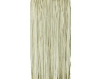 """22"""" Full Head Clip in Hair Extensions 8 pcs with 18 clips platinum blonde Straight shade 613"""
