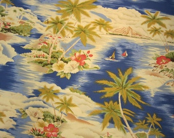 Blue Tropical Tradewinds Sailboat Cotton Fabric by Hoffman California International Fabrics Made in 2009