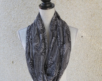 Fabric scarf, Infinity scarf, tube scarf, eternity scarf, loop scarf, long scarf, cowl scarf, circle scarf in a polyester fabric