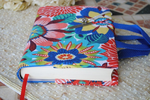 Fabric Book Covers With Handles : Christmas lovers fabric book cover with handles by