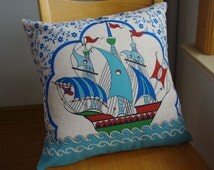 Sailing boat pillow cover, Navy sail boat pillow cover