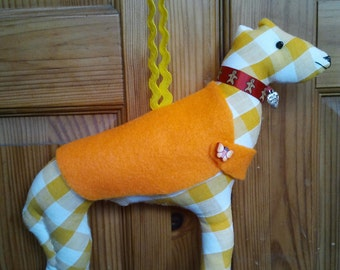 Hand made Yellow and white gingham check Fabric greyhound, Lurcher, Whippet hanging decoration