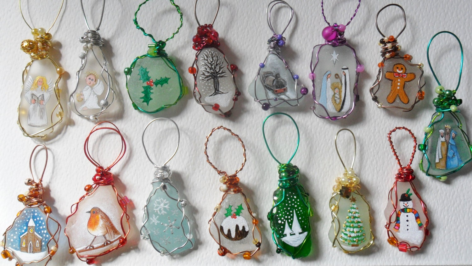 Sea Glass Hand Painted Art Christmas Tree By Shepaintsseaglass