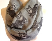 Cat Infinity Scarf / Accessories / Spring Summer Scarf / Gift for Her / Women Scarves / Scarves and Wraps / Cat Scarf
