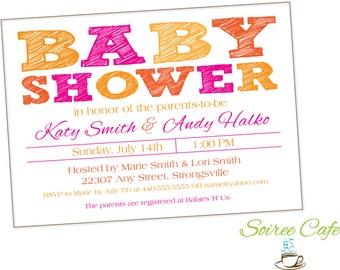 Baby Shower Invitation | Girl Baby Shower | Sketched {Digital FIle} Pink Orange Simple Neutral