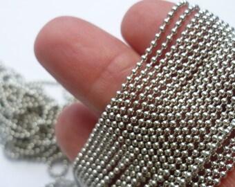 10M Smooth Ball Chain Silver Tone - CHN08S