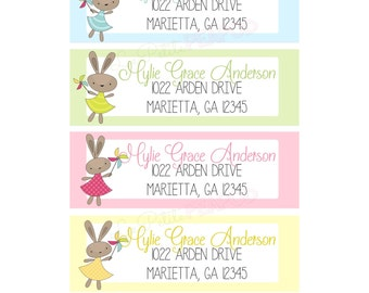 12 Address Labels - Flying Bunnies Design - Bunny Address Labels