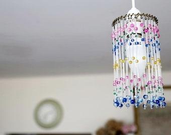 Glass beaded pendant light shade - 10