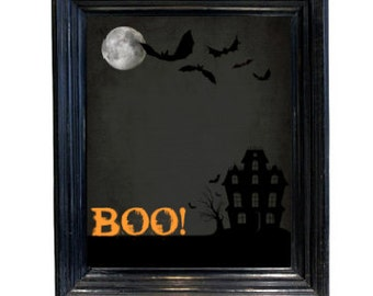 Halloween printable Decor Haunted House Boo printable wall art picture  scary art 8x10 downloadable printable
