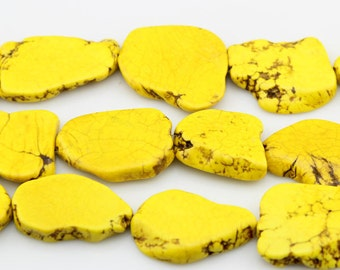 Yellow Turquoise Beads,Slab Turquoise Beads,Turquoise Stone,Gemstone Beads---30mm-40mmm--8 Pieces---S005
