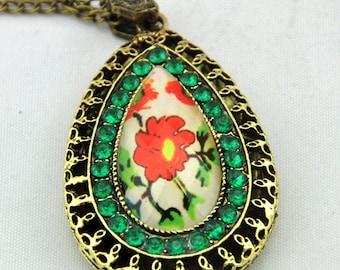 1pc Antique Bronze Faceted Flowers set auger Picture Frame Pendant Necklace