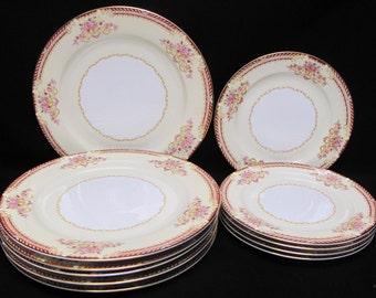 Noritake Rose China Occupied Japan Pattern R011 Plates 5 Dinner 5 Salad