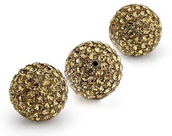 20PCS 12MM Crystal stones Loose Spacer Bead Pave Disco Ball Rhinestone Beads light colorado