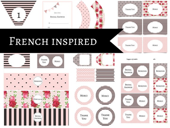 Pink French Inspired Bridal Shower, Chic Printable Package, French Parisian Bridal Decor, Party Package, Chic, French Bridal Shower Package