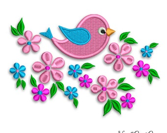 Bird with Flowers embroidery design Instant download digital bird embroidery by NestGiftCo - 020