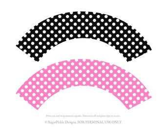 Minnie Cupcake wrappers, cupcake wrapper printable, cupcake label printable, Minnie Party Printable, Minnie Party Decorations