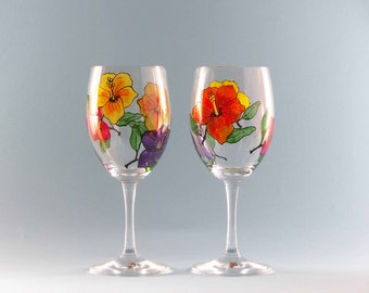 Hand Painted Wine Glasses - Painted Hibiscus Wine Glasses - Beautiful Tropical Design!
