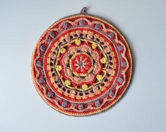 Crocheted Potholder PATTERN - round mandala pot holder - overlay crochet - orange and brown - instant download