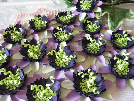 Paper Flowers Purple Lime Green White Passion 25