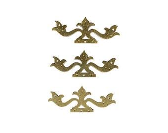 Brass Hinge Mounts, Furniture Mounts, Furniture Hardware, Ornamental Hardware, Furniture Brasses, Vintage Brass, Antique Brass B46