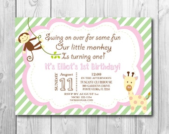 Jungle 1st Birthday Invitation - Jungle Theme - Printable Shower Themed Invite - Colors and Text Customizable