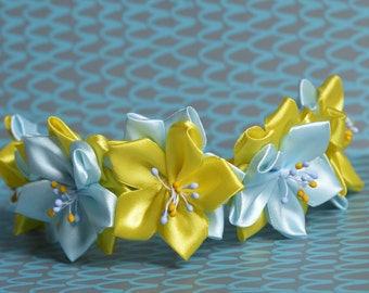 Blue and Yellow Headband With Kanzashi Flowers