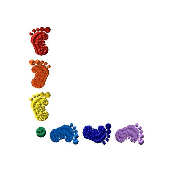 rainbow baby feet corner machine embroidery design. Black Bedroom Furniture Sets. Home Design Ideas