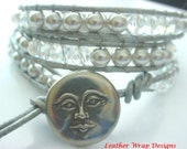 FREE US Shipping! Leather Wrap Silvery Moon Bead and Crystal with Vintage Danforth Moon Closure Three Wrap