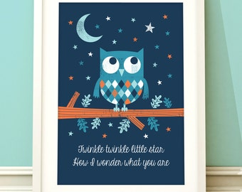 Nursery art boy, owl nursery print, owl nursery art, boys room art, childrens art, baby boy, nursery decor, boys bedroom, twinkle twinkle