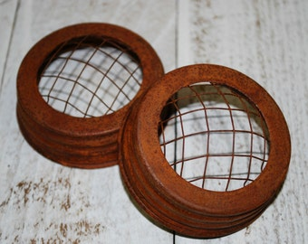 "2 Rusty FROG Lids for Wide Mouth Mason Jars .. 3-1/2"" opening .. flowers .. wedding .. rusty tin lid"