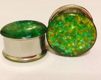 7/8 limeade glitter plugs