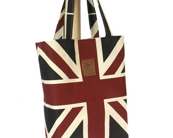 Tote bag Union Jack Vintage style Large Canvas Bag Handbag Handmade bag
