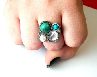 Multi stone ring, Sterling silver ring, gemstone ring, silver jewelry, flower ring, Chrysocolla,Turquoise, quartz, pearl, israel jewelry