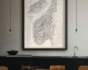 """Map of Norway 1845 Vintage Norway map up to 36x45"""" (90x110 cm) Large old Norwegian map of Norway, Norge - Limited Edition of 100"""
