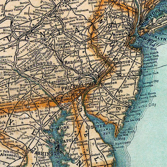 US Railroad Map Large Vintage Map Of United States - Us railroad map 1890