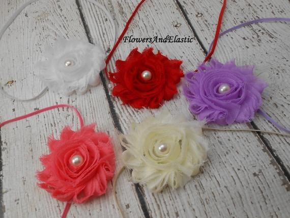 Set of 5 Shabby flowers Baby Headband, Newborn Headband,  Infant Headband,Baby Headband, Headband Baby,Baby Headband