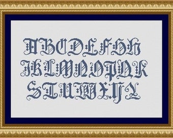 OLD letters ALPHABET - Counted cross stitch pattern /grille point de croix,Cross Stitch PDF, Instant download , free shipping