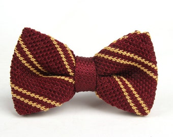 Mens Bowties.Red Knitted Bowtie With Gold Stripes,Bowtie for Party.Gifts.wedding bowtie
