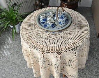 """Vintage look hand crochet beige tablecloth, 57"""" inches(145cm)  Round table topper for home decor, handmade table linen"""