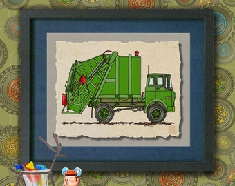Kid Truck Art Green garbage truck Whimsical truck print adds to kids room transportation art as 8x10 or 13x19 Cute truck wall decor
