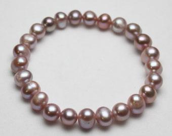 Freshwater Lavender Pearl Stretch Bead Bracelet