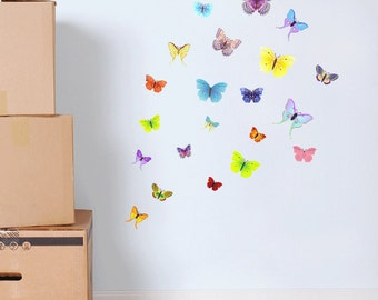 Full Colour Butterfly Wall Decal Butterflies Kids Wall Sticker Bedroom Decorative