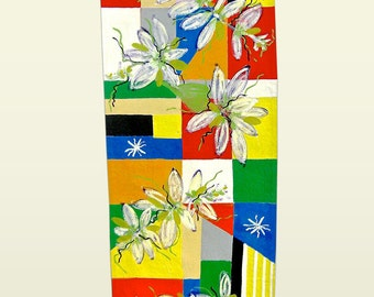 "Floral and geometric canvas floor cloth 26"" x 70"""