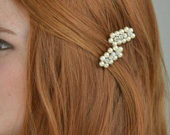 Ivory bridal hair comb, white bridal hair accessories, pearl hairpiece, rhinestone hair accessories