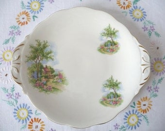 """Vintage Mid Century Queen Anne China Cake Plate - 'Tudor Cottage' 10 1/4"""" x 9"""""""
