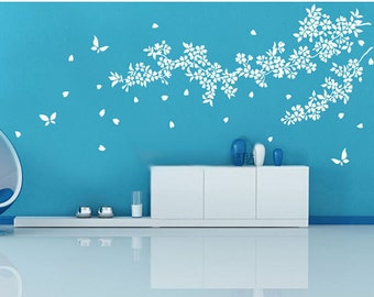 White tree wall decal nursery,Cherry blossom tree wall sticker,Tree branch wall decal,Leaves and butterfly wall stickers wall decals-7270