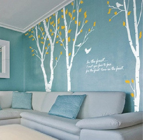 Large white birch tree decal tree wall decals by for Birch tree wall mural